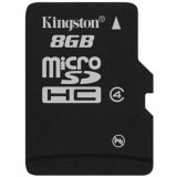 Kingston 8GB microSDHC Class 4 Flash Card Single Pack w/o Adapter EAN: 740617154115