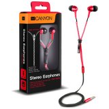 CANYON zipper cable earphones, metal housing, red.