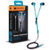 CANYON zipper cable earphones, metal housing, blue.