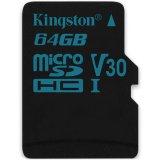 KINGSTON 64GB microSDXC Canvas Go 90/45 U3 UHS-I V30 Single Pack W/O Adptr