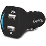 CANYON Smile Dual USB Car Carger 2.1A (Color: Black)