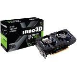 Inno3D Video Card GeForce GTX 1050 Ti Twin X2 GDDR5 4GB/128bit, 1290MHz/7000MHz, PCI-E 3.0 x16, HDMI, DVI-D, DP, Herculez 2000 2X Cooler (Double Slot), Retail