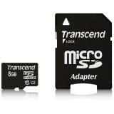 TRANSCEND Flash Card, microSDHC, 8GB, Class 10, UHS-1 300X, with SDHC adapter
