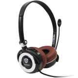 Headset PRESTIGIO PHS (20Hz-20kHz, Built-in Microphone, Cable, 2.2m) Black/Brown, Retail