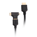 Prestigio male to male 1.8m HDMI cable and single adapter offers both HDMI Mini & Micro connections. 10.2 Gbps data transfer rate, offer the ultimate home entertainment experience. Perfect for connecting your cable box, Blu-ray™ Disc player, Apple TV, H