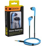 CANYON fashion earphone with powerful sound, inline microphone, flat cable, blue