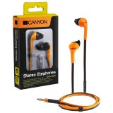 CANYON fashion earphone with powerful sound, inline microphone, flat cable, orange