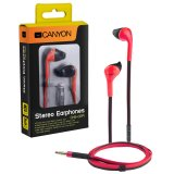 CANYON fashion earphone with powerful sound, inline microphone, flat cable, red