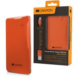 CANYON CNS-CPB40O Orange color portable battery charger with 4000mAh, micro USBinput 5V/1A and single USB output 5V/1A(max.)