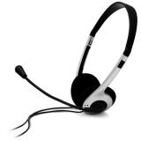 Headset CANYON CNF-HS01 (20Hz-20kHz, Built-in Microphone, Cable, 1.8m) Black/Silver, Retail