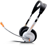 Headset CANYON CNR-HS11N (20Hz-20kHz, External Microphone, Cable, 2.4m) White/Silver, Retail