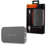 CANYON CNE-CPB78DG Dark grey color portable battery charger with 7800mAh, micro USB input 5V/1A and USB output 5V/1A(max.)