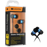 Canyon stereo earphone CNR-EP08N , color:  blue ; 2 sizes of silicon ear-plugs to ensure a perfect fit, noise-isolating ear-bud style headphones
