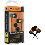Canyon stereo earphone CNR-EP08NO , color: orange ; 2 sizes of silicon ear-plugs to ensure a perfect fit, noise-isolating ear-bud style headphones