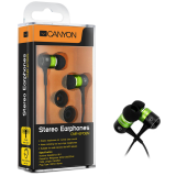 Canyon stereo earphone CNR-EP08NG , color:  green ; 2 sizes of silicon ear-plugs to ensure a perfect fit, noise-isolating ear-bud style headphones
