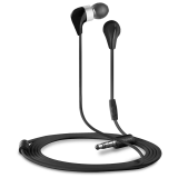 CANYON ceramic housing earphones with inline microphone; carrying bag included; black