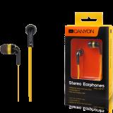 Canyon fashion earphones, flat anti-tangling cable, yellow