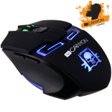 CANYON Gaming Mouse CND-SGM7 (Wired, Optical 400/800/1600/3200 dpi, 125/500/1000Hz, 3600 fps, 30g, 6 btn, USB,), Black