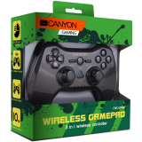 CANYON 3in1 wireless gamepad, up to 8 hours of play time, transmission distance up to 10m, rubberized finishing, dual-shock vibration (Compatible with PC, PS2, PS3)