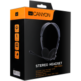Canyon Headset ; color: black; Impedance: 32 Ohm;  Frequency Response: 20Hz-20kHz ; Sensitivity: 108 dB ; cable length: 2.3m ; stereo 3.5mm plug