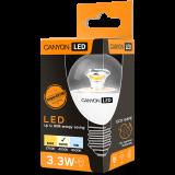 CANYON PE27CL3.3W230VN LED lamp, P45 shape, clear, E27, 3.3W, 220-240V, 150°, 262 lm, 4000K, Ra>80, 50000 h