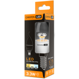 CANYON BXE14CL3.3W230VW LED lamp, BXS38 shape, clear, E14, 3.3W, 220-240V, 150°, 250 lm, 2700K, Ra>80, 50000 h