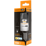 CANYON BXE14CL6W230VN LED lamp, BXS38 shape, clear, E14, 6W, 220-240V, 150°, 494 lm, 4000K, Ra>80, 50000 h