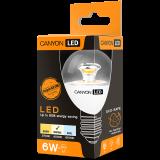 CANYON PE27CL6W230VN LED lamp, P45 shape, clear, E27, 6W, 220-240V, 150°, 494 lm, 4000K, Ra>80, 50000 h