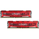 Crucial DRAM 16GB Kit (8GBx2) DDR4 2400 MT/s (PC4-19200) CL16 SR x8 Unbuffered DIMM 288pin Ballistix Sport LT DDR 4 UDIMM - Red, EAN: 649528778406