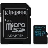 KINGSTON 64GB microSDXC Canvas Go 90R/45W U3 UHS-I V30 Card + SD Adapter