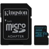 KINGSTON 32GB microSDHC Canvas Go 90R/45W U3 UHS-I V30 Card + SD Adapter