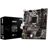 MSI Main Board Desktop H310 (S1151, DDR4, USB3.1, USB2.0, SATA III, DVI-D, VGA - Requires Processor Graphics, 8-Channel(7.1) HD Audio with Audio Boost, Realtek 8111H Gigabit LAN) mATX Retail