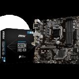 MSI Main Board Desktop B360 (S1151, DDR4, USB3.1, USB2.0, SATA III,M.2, HDMI, DVI-D, VGA - Requires Processor Graphics, 8-Channel(7.1) HD Audio with Audio Boost, Realtek 8111H Gigabit LAN) mATX Retail