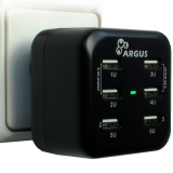 INTER-TECH AC Argus USB Travel Charger LS-6US, AC 100-240V, 1A, 50-60Hz, 6xUSB (Exchangeable AC plugs for EU, USA, China, UK and compatible countries are included)