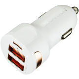 CANYON Universal 2xUSB car adapter, Input 12V-24V, Output 5V-2.4A, with Smart IC, white glossy with rose-gold electroplated ring