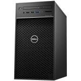 Dell Precision T3630 w/460W up to 90% efficient PSU, Intel Xeon E-2124G, 4 Core, 8MB Cache, 3.4GHz, 4.5Ghz Turbo,  8GB (1x8GB) 2666MHz DDR4 UDIMM Non-ECC, M.2 256GB PCIe NVMe, Intel UHD 630, 8x DVD+/-RW 9.5mm, noWiFi, CardRead., K+M, Win10Pro, 3Y