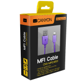 CANYON CNS-MFICAB01PU Ultra-compact MFI Cable, certified by Apple, 1M, 2.8mm  purple color
