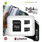 Kingston 64GB micSDXC Canvas Select Plus 100R A1 C10 Two Pack +  Single ADP EAN: 740617298994