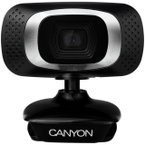 CANYON 720P HD webcam with USB2.0. connector, 360° rotary view scope, 1.0Mega pixels, Resolution 1280*720, viewing angle 60°, cable length 2.0m, Black, 62.2x46.5x57.8mm, 0.074kg