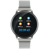 Smart watch, 1.22inch colorful LCD, 2 straps, metal strap and silicon strap, metal case, IP68 waterproof, multisport mode, camera remote, music control, 150mAh, compatibility with iOS and android, Silver, host: 42*48*12mm, belt: 222*18mm, 52.3g