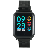 Smart watch, 1.22inch colorful LCD, 2 straps, metal strap and silicon strap, metal case, IP68 waterproof, multisport mode, camera remote, music control, 150mAh, compatibility with iOS and android, Black, host: 42*35*11.4mm, belt: 222*18mm, 56.8g