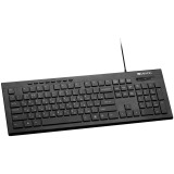 CANYON Multimedia wired keyboard, 104 keys, slim and brushed finish design, white backlight, chocolate key caps, AD layout (black), cable length 1.5m, 450*154*22.3mm, 0.53kg