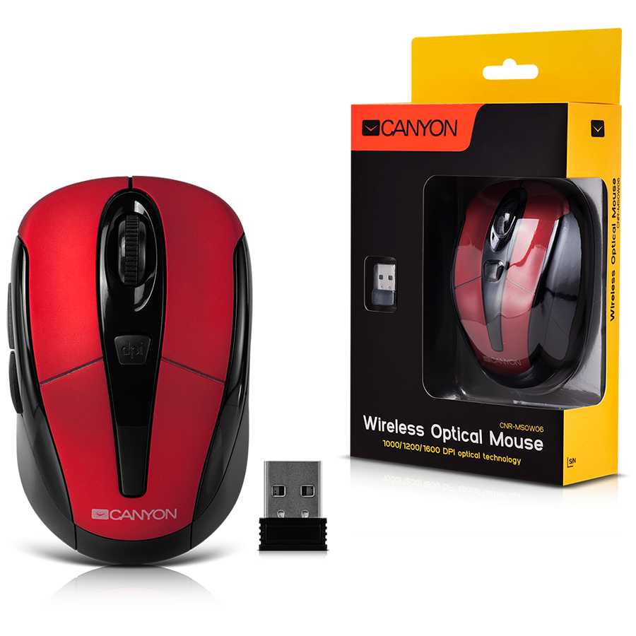 CANYON CNR-MSOW06R Red color, 3 buttons and 1 scroll wheel with ...